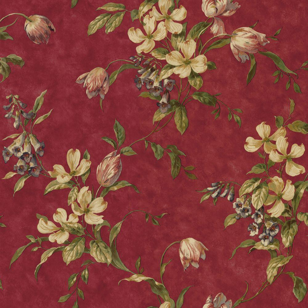 The Wallpaper Company 56 sq. ft. Red Tulip Trail Wallpaper-DISCONTINUED