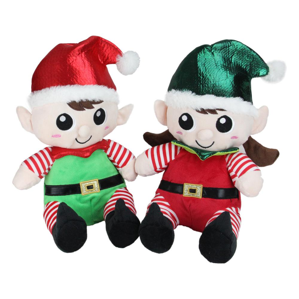 Northlight 13 In Christmas Elf Figures Plush Sitting Boy And Girl