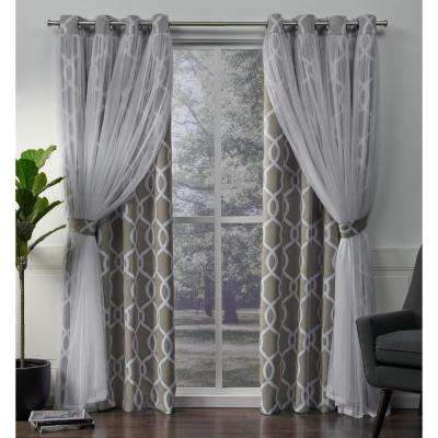 Carmela 52 in. W x 96 in. L Layered Sheer Blackout Grommet Top Curtain Panel in Natural (2 Panels)