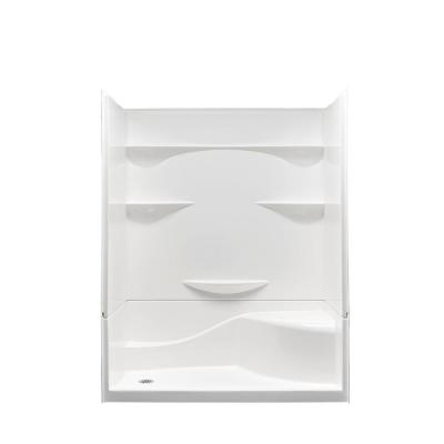 Varia 30 in. x 60 in x 76 in. 4 -pc AcrylX Acrylic Finished Shower Stall with Left Drain and Right Seat in White