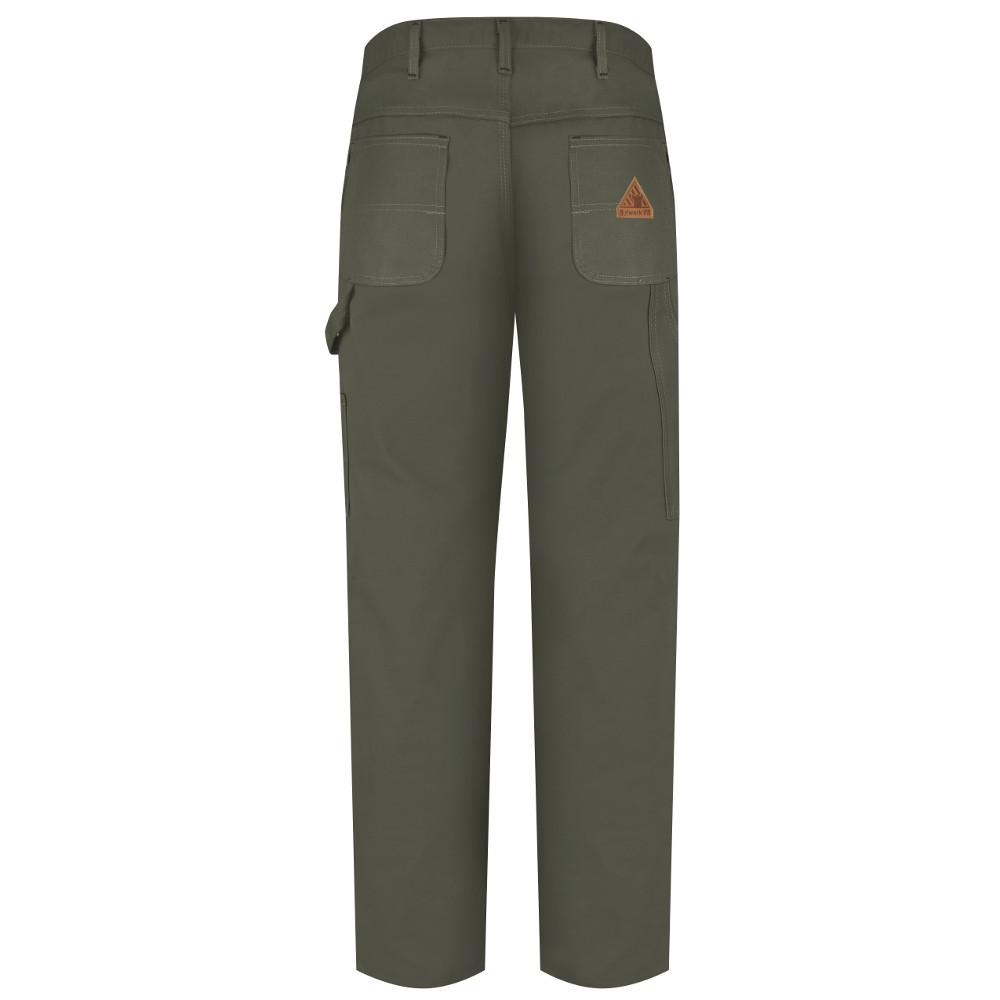 Bulwark 50 X 34 Olive Cotton Nylon Flame Resistant Dungarees With Button Closure