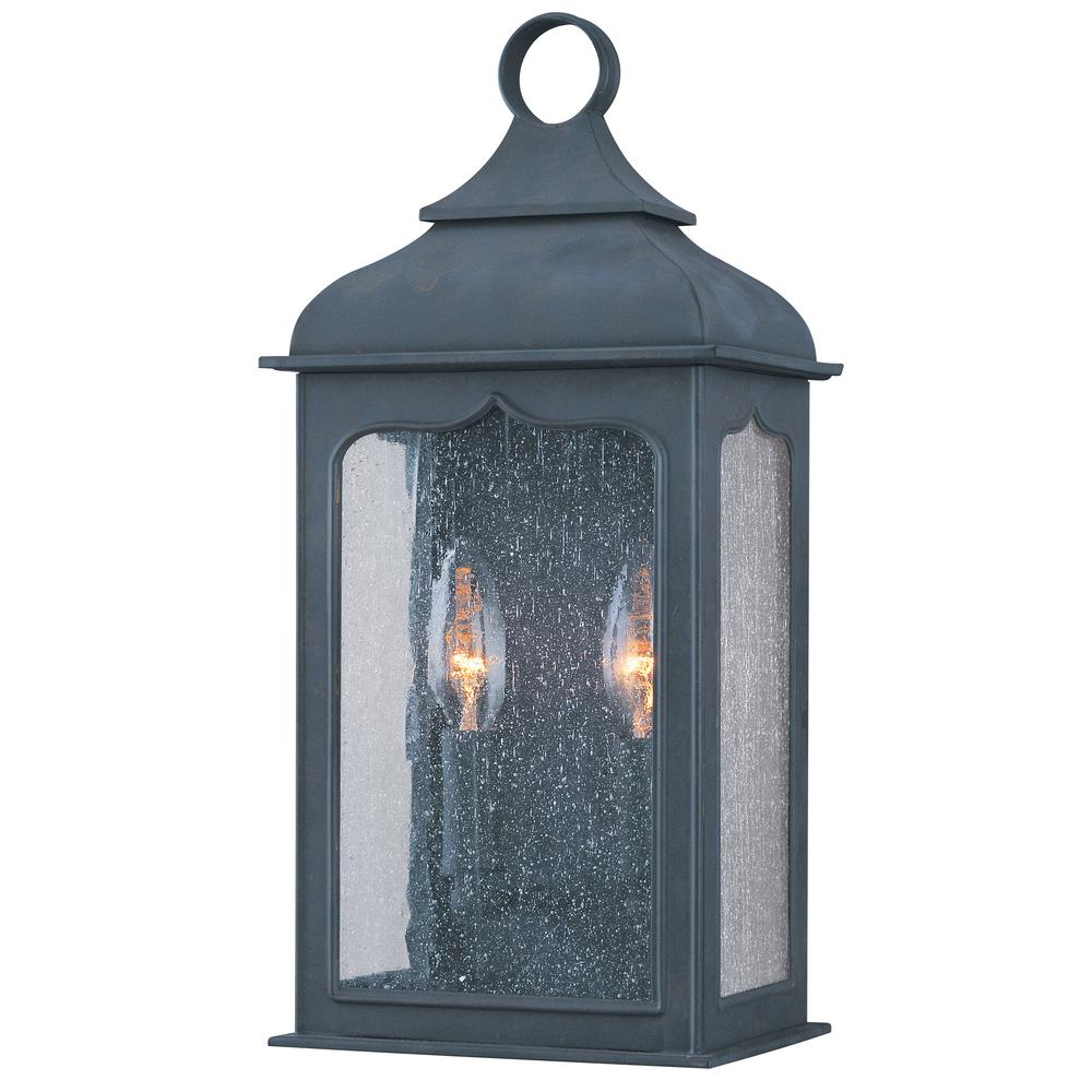 Troy Lighting Henry Street 2 Light Colonial Iron Outdoor Wall Lantern Sconce