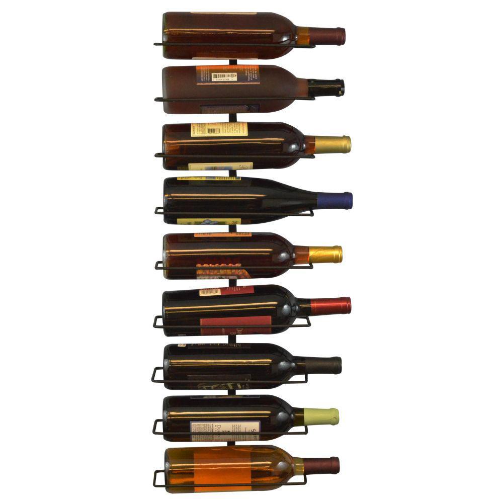 9-Bottle Wall Mount Wine Bottle Rack