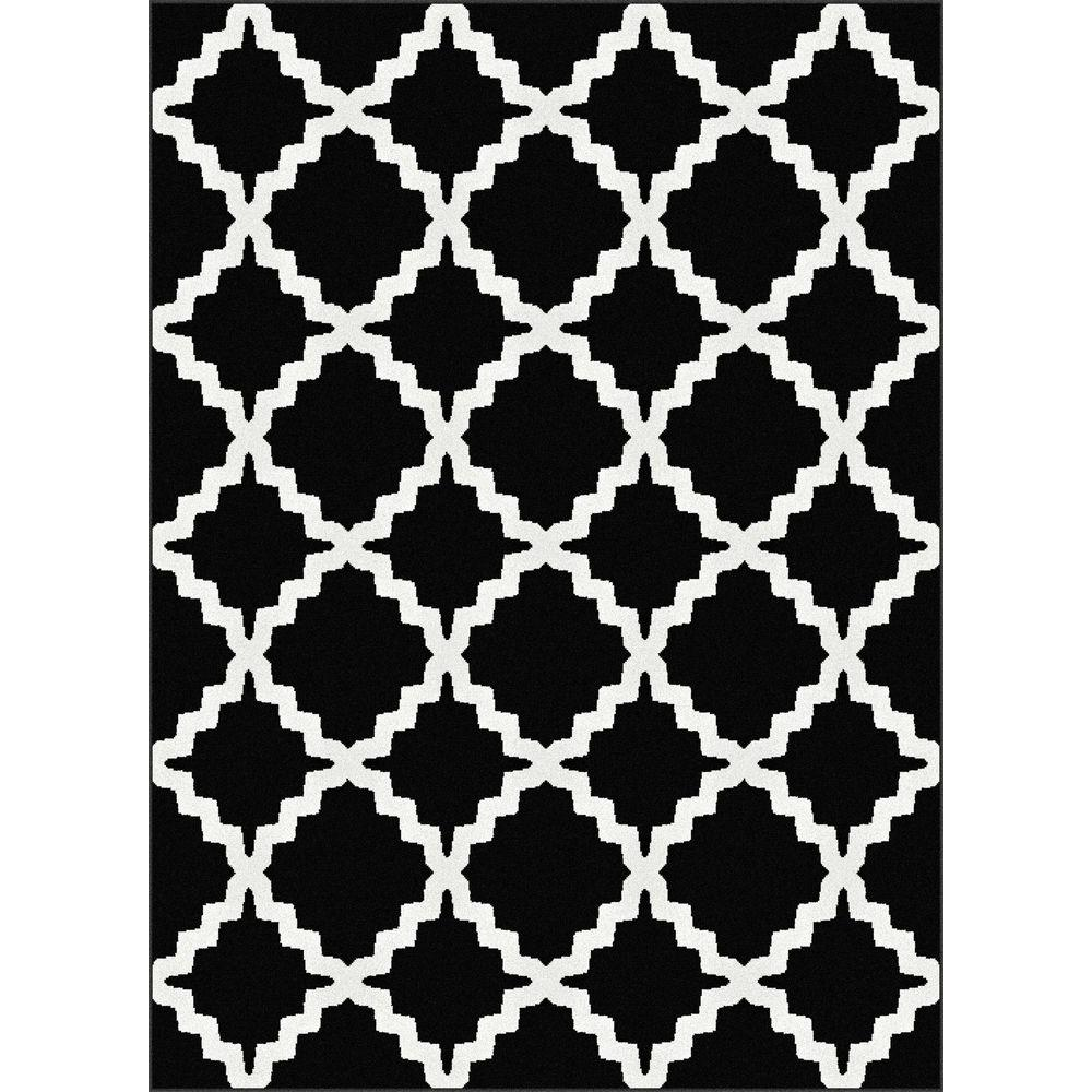 Tayse Rugs Metro Black 5 ft. 3 in. x 7 ft. 3 in. Contemporary Area Rug