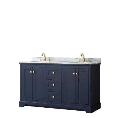 Avery 60 in. W x 22 in. D Bathroom Vanity in Dark Blue with Marble Vanity Top in White Carrara with White Basins