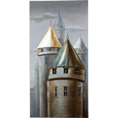 "59 in. x 30 in. ""Town Of Turrets"" Hand Painted Canvas Wall Art"