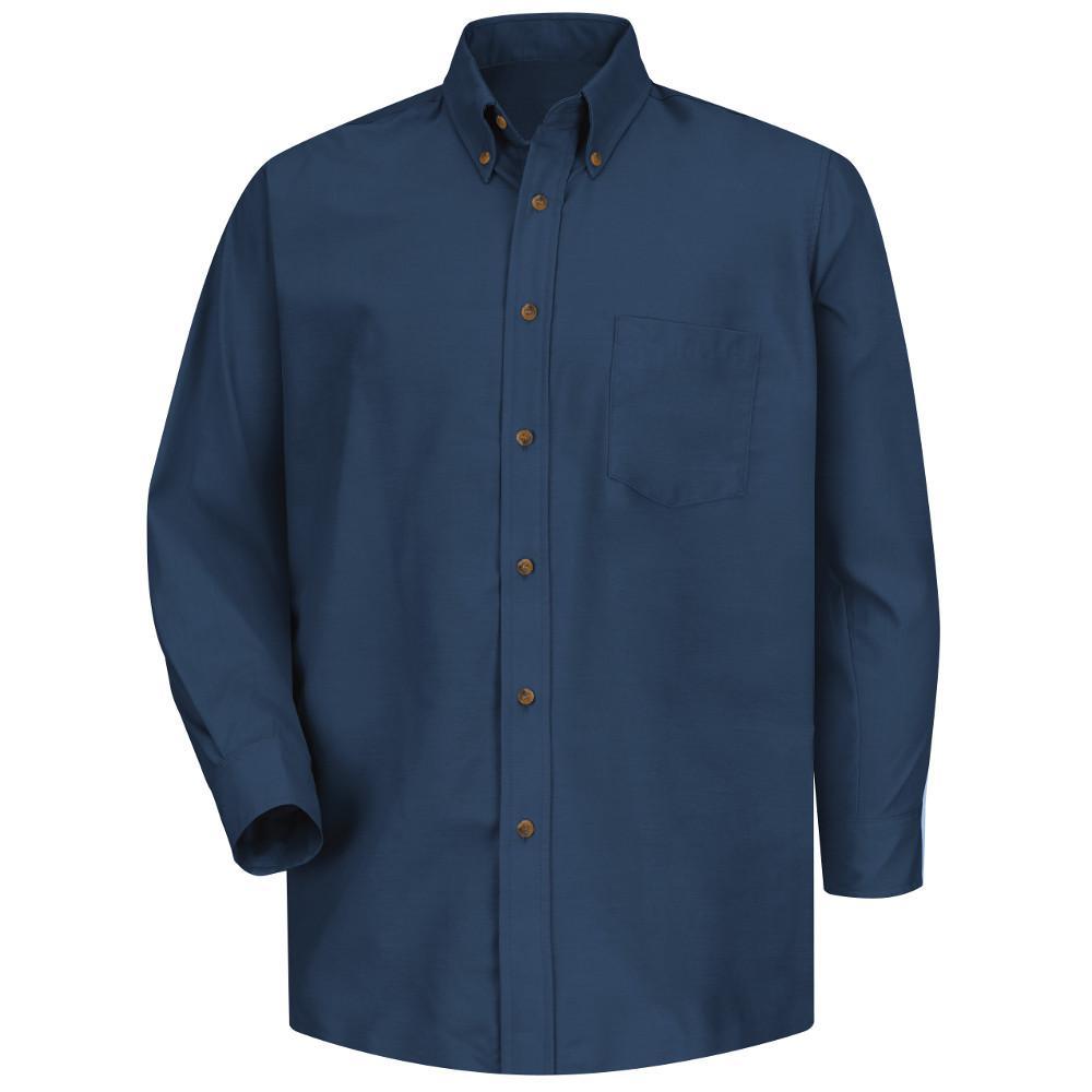 Men's Size 3XL x 36/37 Navy Poplin Dress Shirt