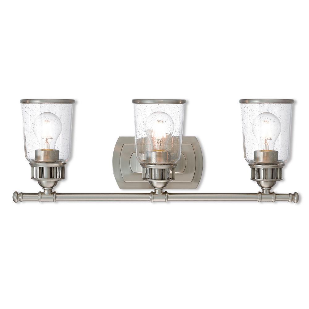 Lawrenceville 3-Light Brushed Nickel Bath Light