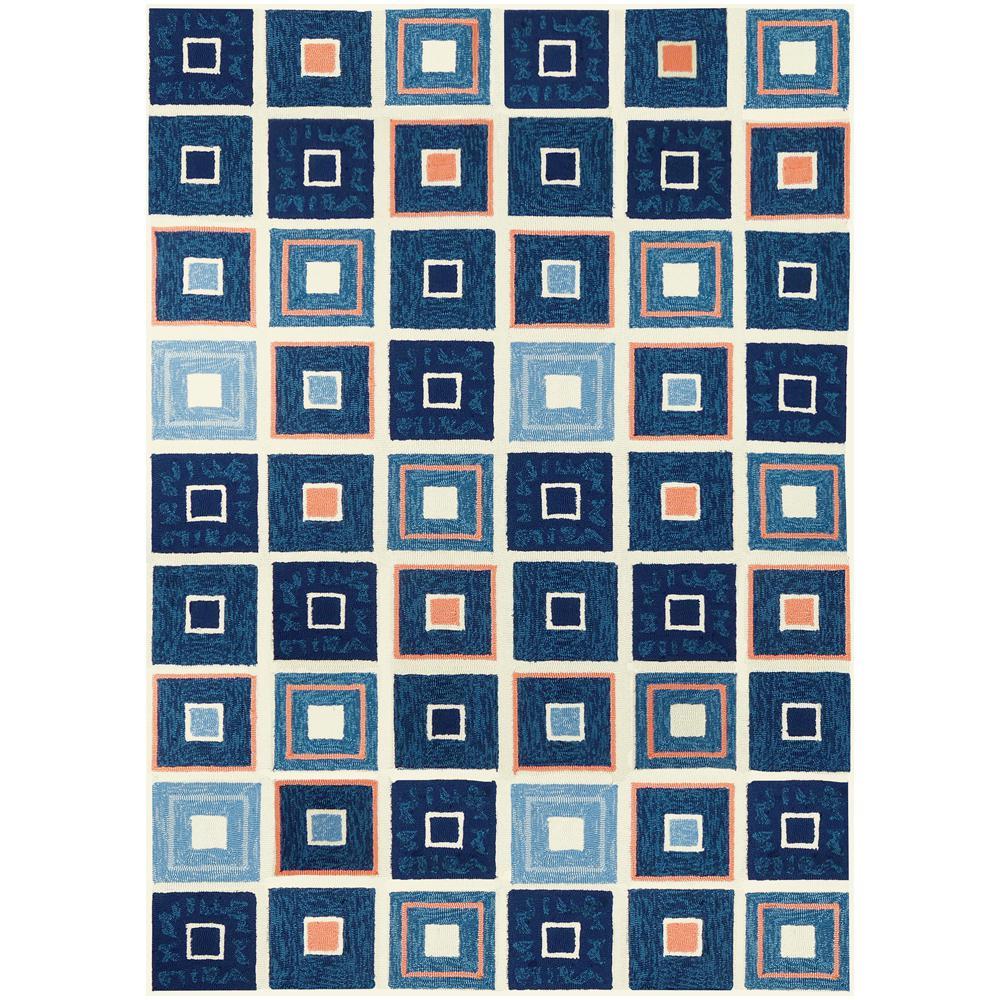 Beach Tiles Navy 8 ft. x 10 ft. Indoor/Outdoor Area Rug