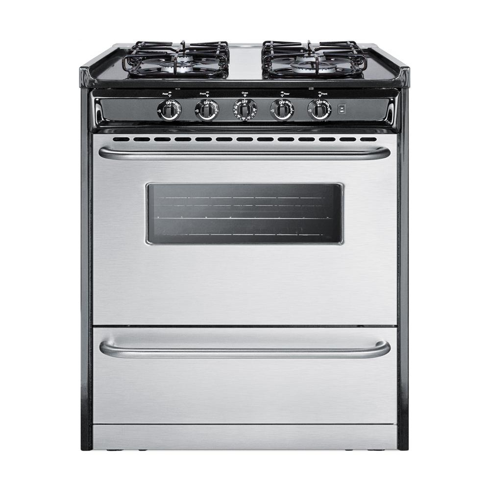 Summit 30 in. 3.7 cu. ft. Gas Range in Stainless Steel (S...