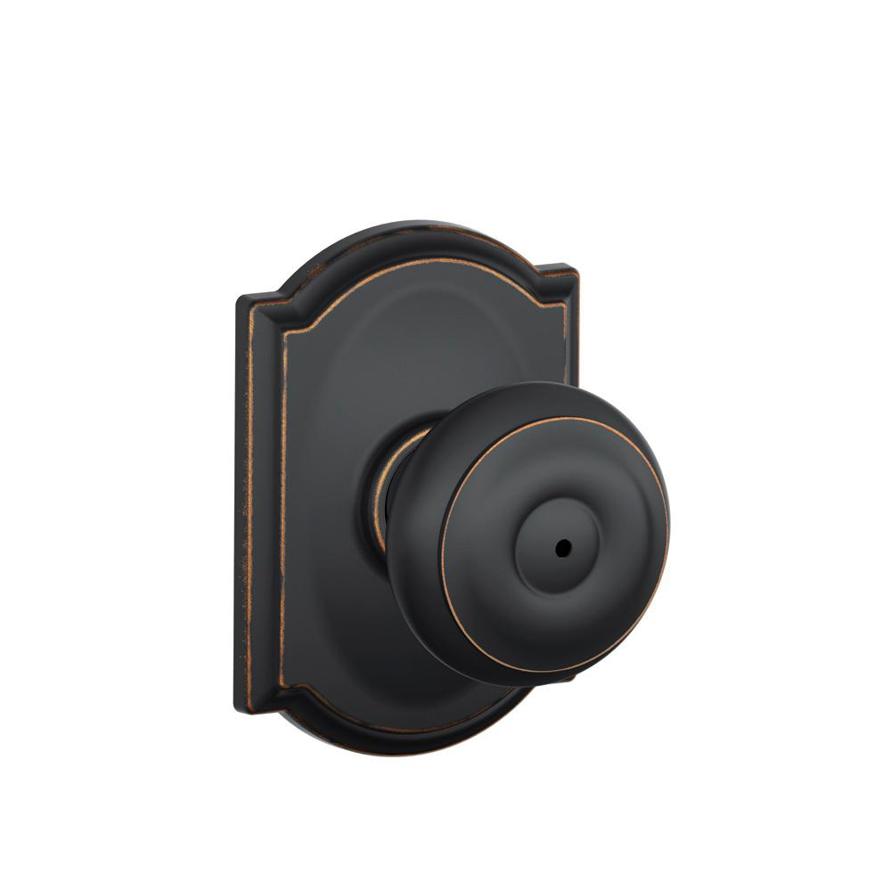 Schlage Georgian Aged Bronze Privacy Bed Bath Door Knob