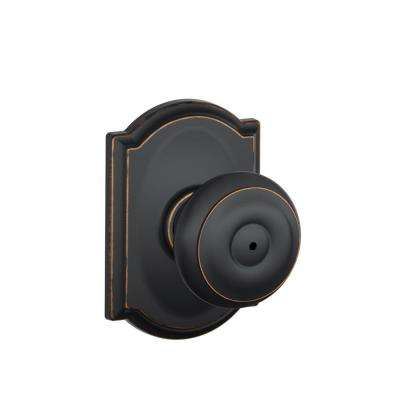 Georgian Aged Bronze Privacy Bed/Bath Door Knob with Camelot Trim