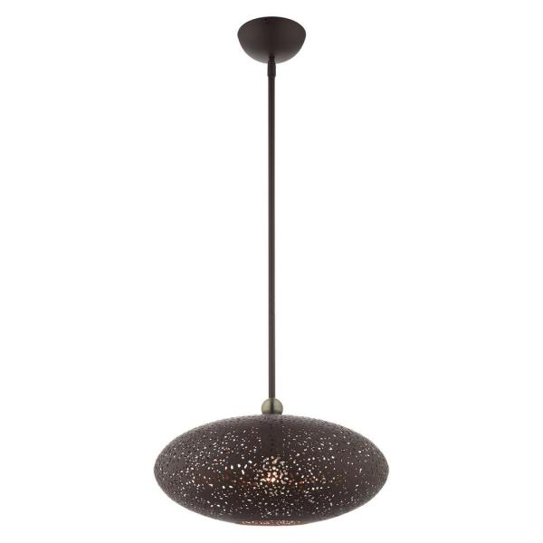 Charlton 1 Light Bronze with Antique Brass Accents Pendant