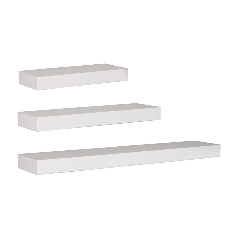 kiera grace maine 12 in w x 5 in d 16 in w x 5 in d and 24 in w x 5 in d white wall shelf. Black Bedroom Furniture Sets. Home Design Ideas