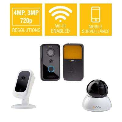 3MP Wi-Fi Mini Camera with 16GB SD Card 4MP Wi-Fi Point/Tilt Camera and 720p Wi-Fi Video Doorbell with Chime