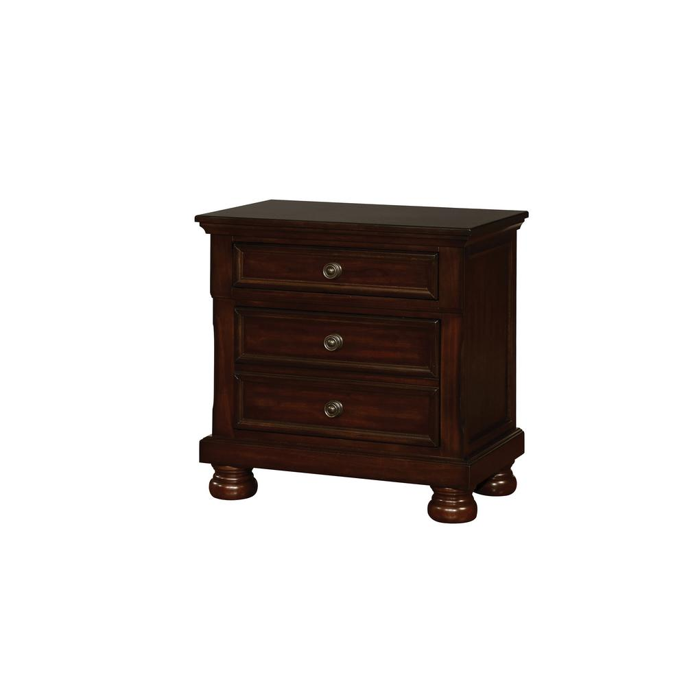 Castor brown cherry transitional style nightstand