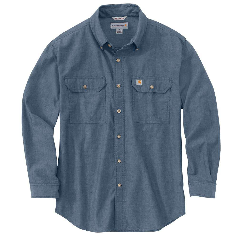 1f0f754a Carhartt Men's Regular Large Denim Blue Chambray Cotton Long-Sleeve Wovens
