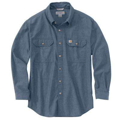 Men's Regular Large Denim Blue Chambray Cotton Long-Sleeve Wovens