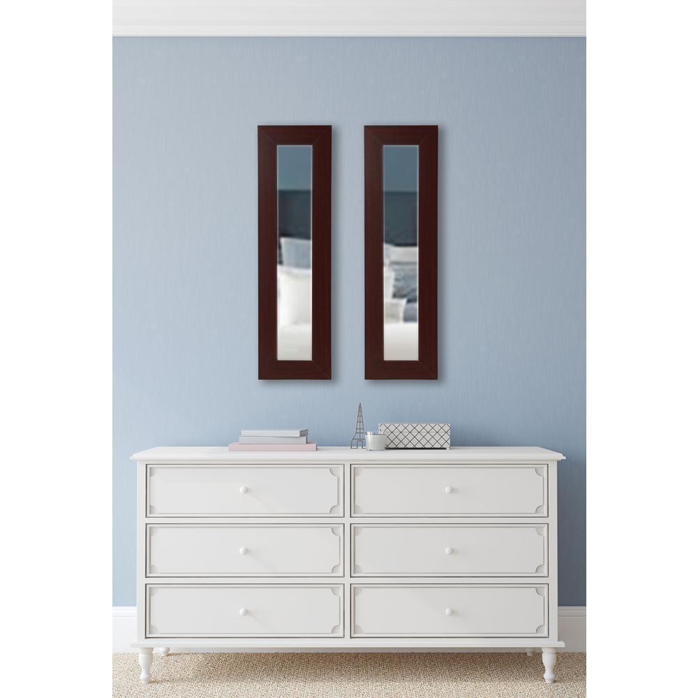 25.5 in. x 9.5 in. Dark Mahogany Vanity Mirror (Set of 2-Panels)