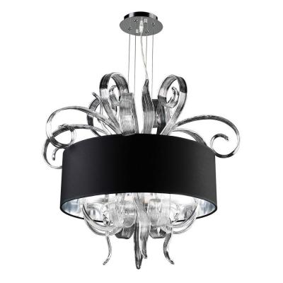 4-Light Polished Chrome Chandelier with Black Fabric Shade and Clear Glass Shade