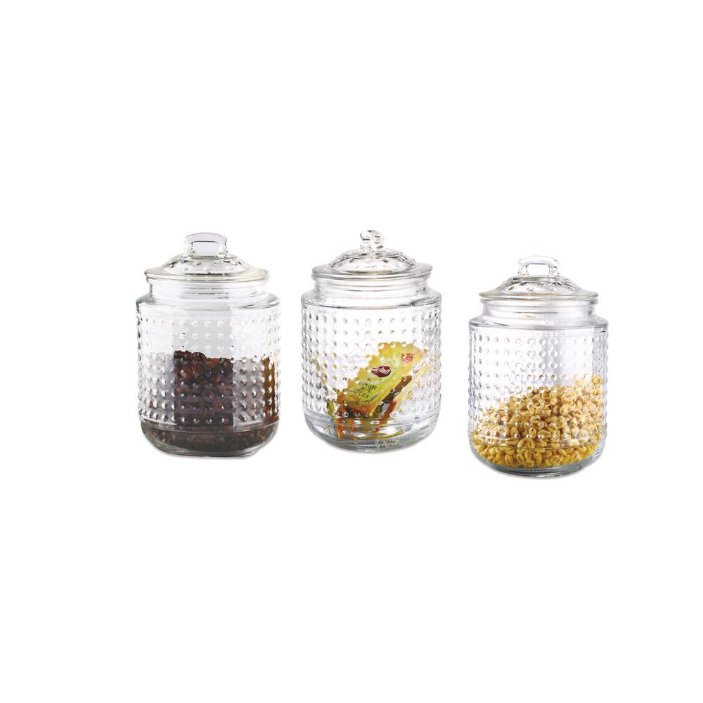 3-Piece Dott 40.5 oz. Glass Canister