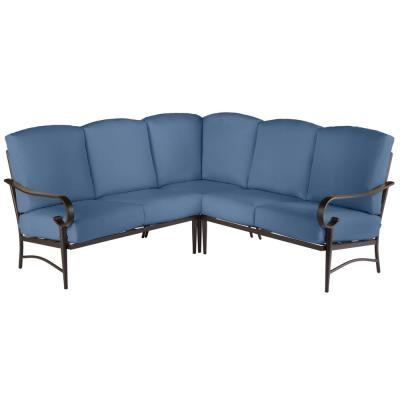 Oak Cliff Brown 3-Piece Steel Outdoor Patio Sectional Sofa with CushionGuard Sky Blue Cushions