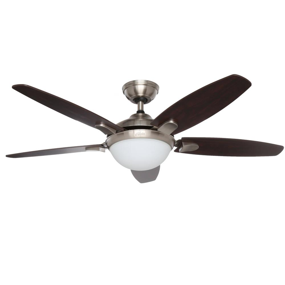 brushed nickel hunter ceiling fans with lights 59013 64_1000 hunter contempo 52 in indoor brushed nickel ceiling fan with