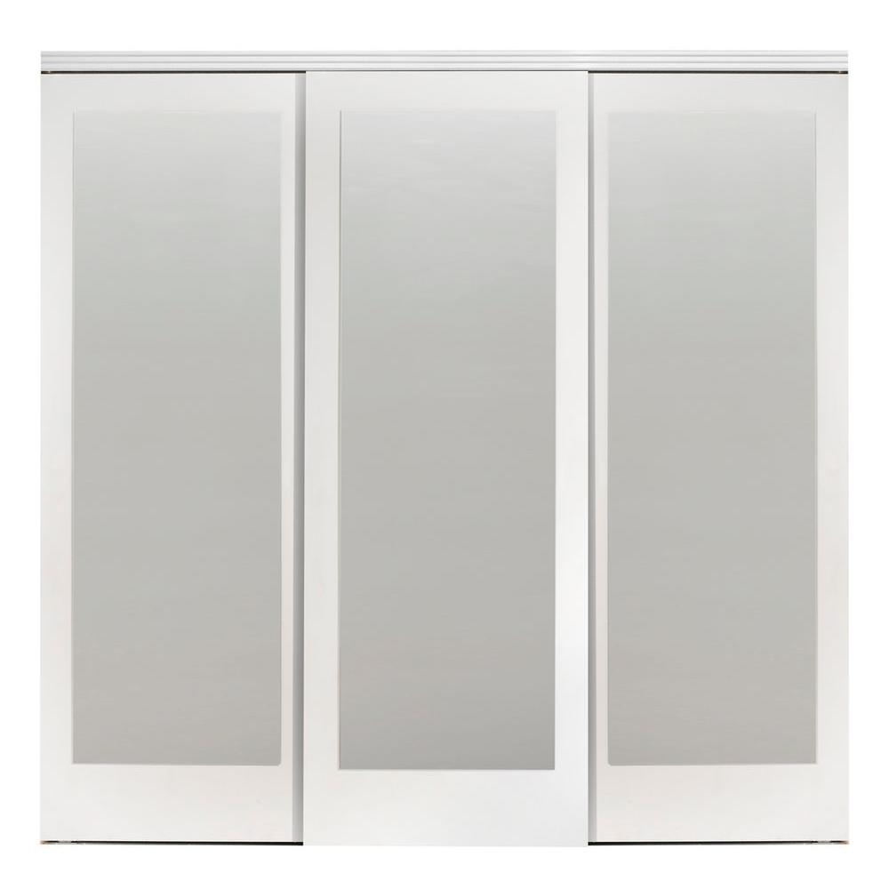 Impact plus 96 in x 96 in mir mel white mirror solid for Sliding glass doors 96 x 96