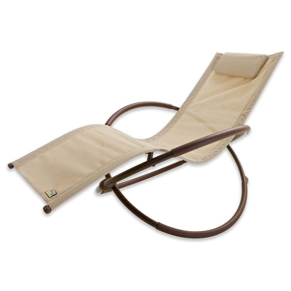 RST Brands Orbital Sling Patio Lounger Chaise In Beige