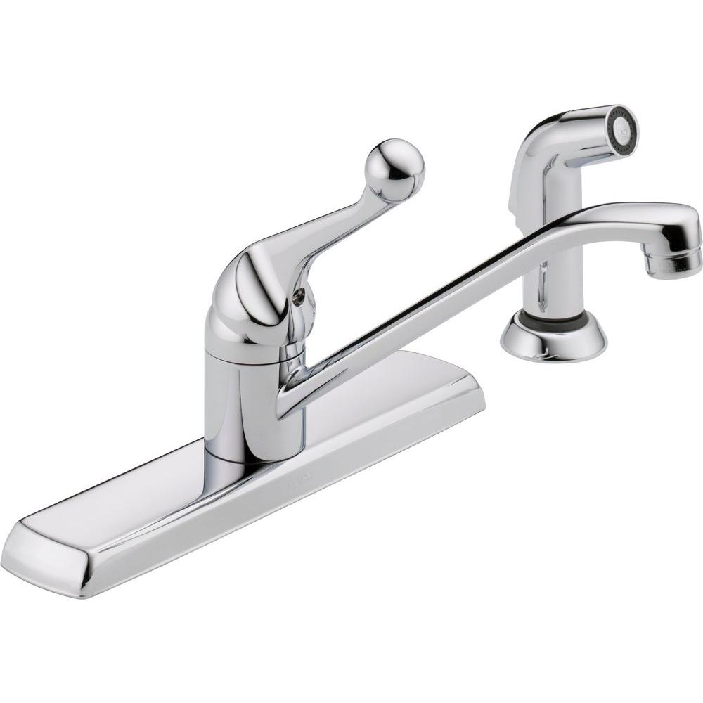 delta faucets for kitchen delta classic single handle standard kitchen faucet with side sprayer in chrome 420lf the home 9617