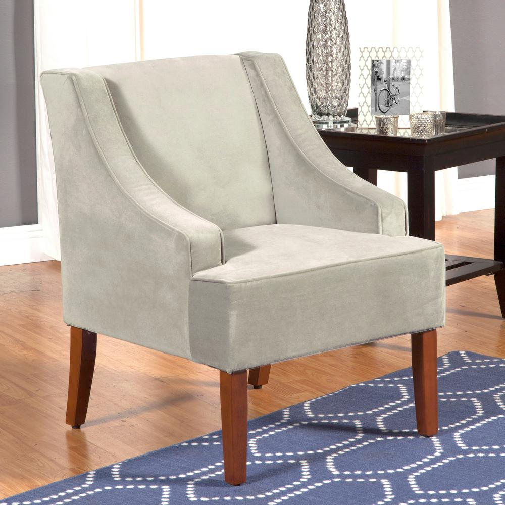 Homepop Light Grey Swoop Arm Velvet Accent Chair