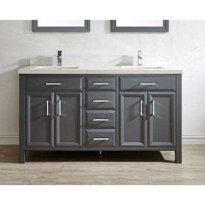 Calais 63 in. W x 22 in. D Vanity in Pepper Gray with Solid Surface Vanity Top