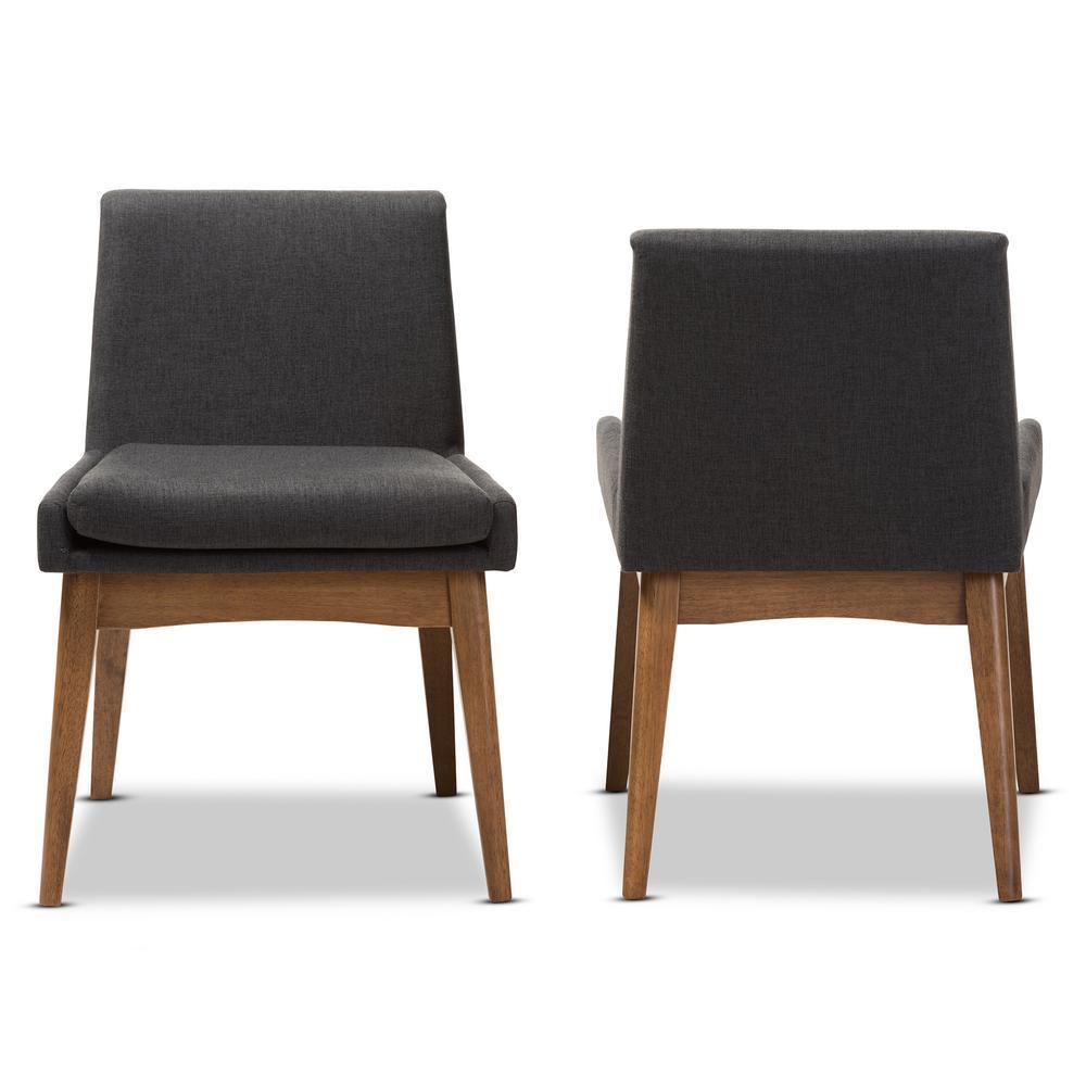 Nexus Dark Grey/Walnut Brown Fabric Dining Chair (Set of 2)