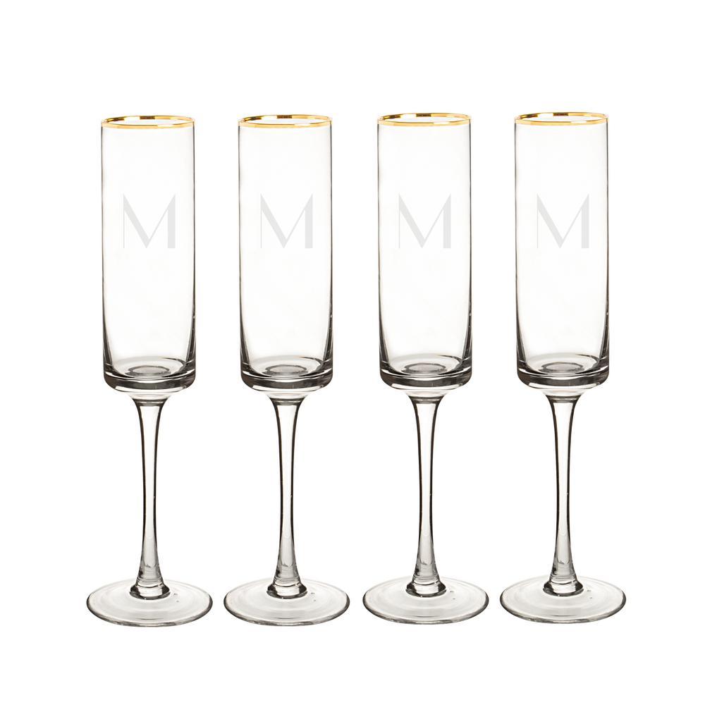 Personalized Gold Rim Contemporary Champagne Flutes - M