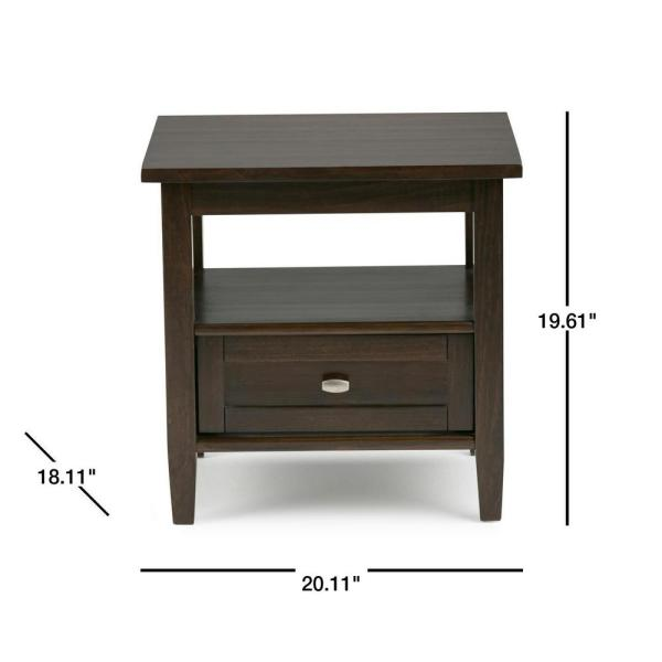 Simpli Home Warm Shaker Solid Wood 20 In Wide Rustic End Side Table Brown Axwsh002 Tb The Depot - Solid Oak Side Table With Drawers