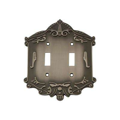 Victorian Switch Plate with Double Toggle in Antique Pewter