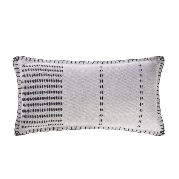 Modern White / Black Stitched 14 in. x 28 in. Rectangle Cotton Throw Pillow