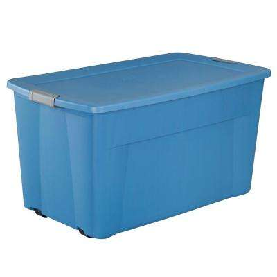 45 Gal. Wheeled Latching Storage Tote in Lapis Blue