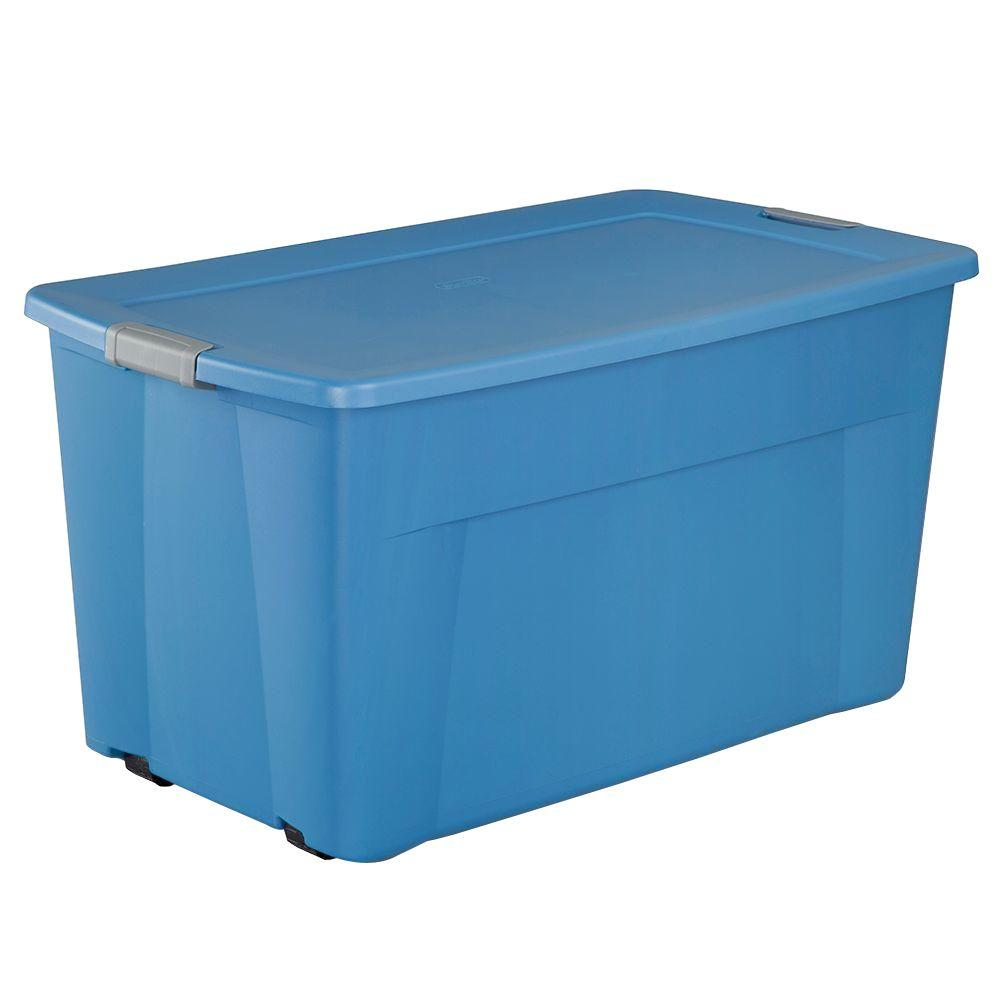 Wheeled Latching Storage Tote in Lapis Blue  sc 1 st  Home Depot : wheeled storage box  - Aquiesqueretaro.Com