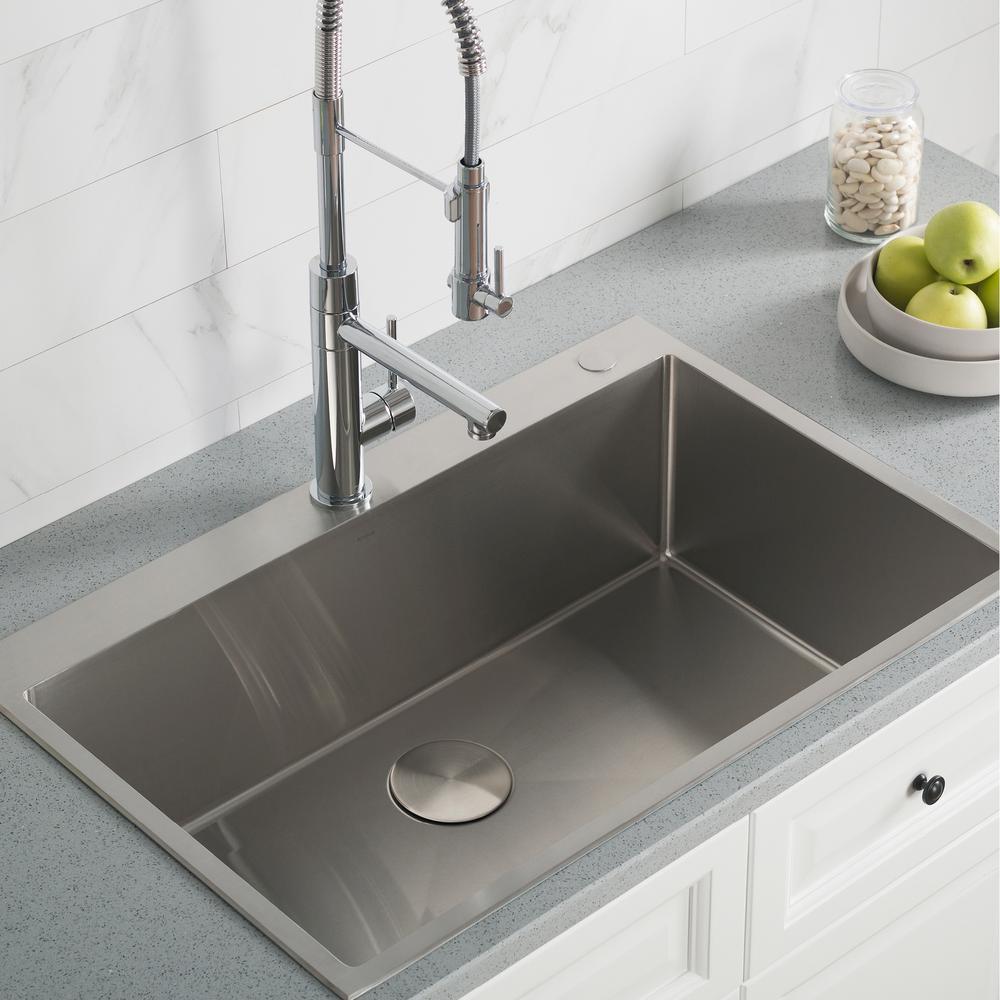 KRAUS Standart PRO Drop-in Stainless Steel 33 in. 2-Hole Single Bowl  Kitchen Sink