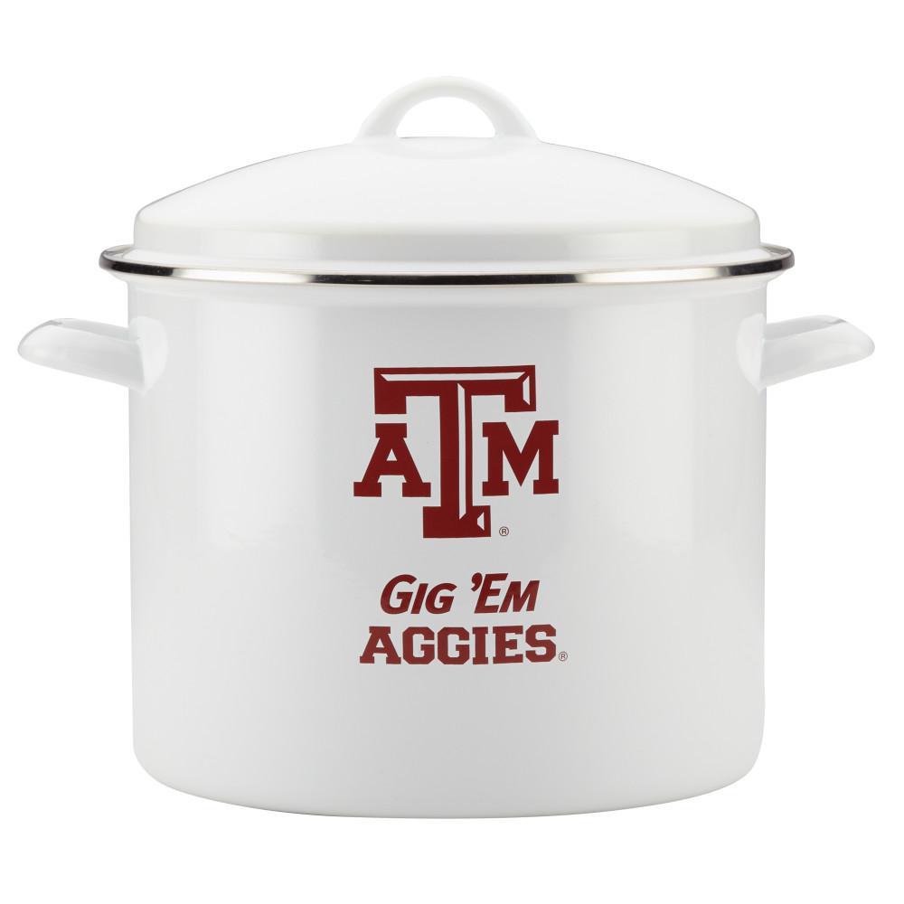Texas A&M 12 Qt. White Enamel-on-Steel Gameday Stockpot