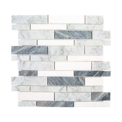 Lombard Fog 11.875 in. x 11.75 in. x 8mm Semi-Polished Natural Stone Linear Mosaic Tile