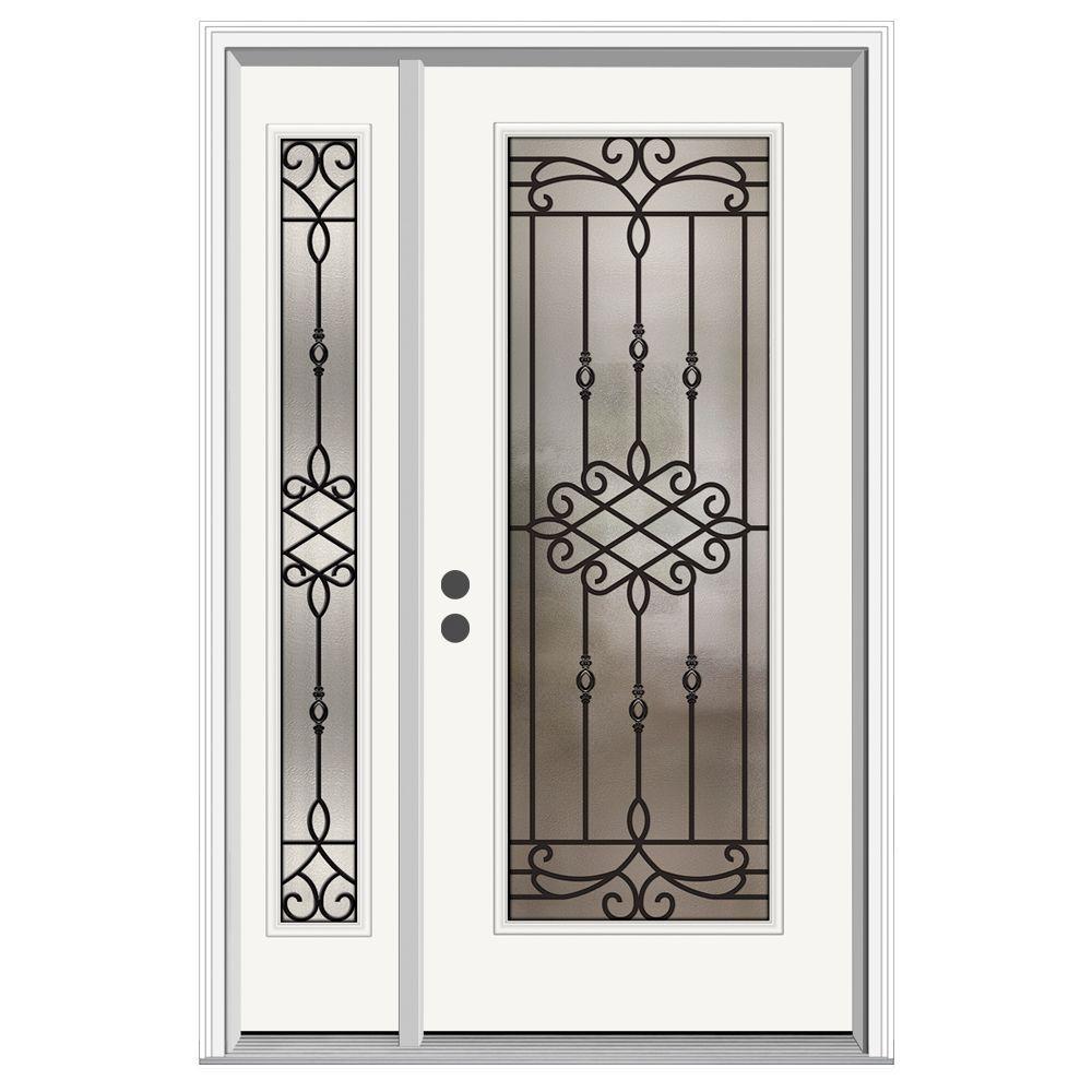 50 in. x 80 in. Full Lite Sanibel Primed Steel Prehung Right-Hand Inswing Front Door with Left-Hand Sidelite