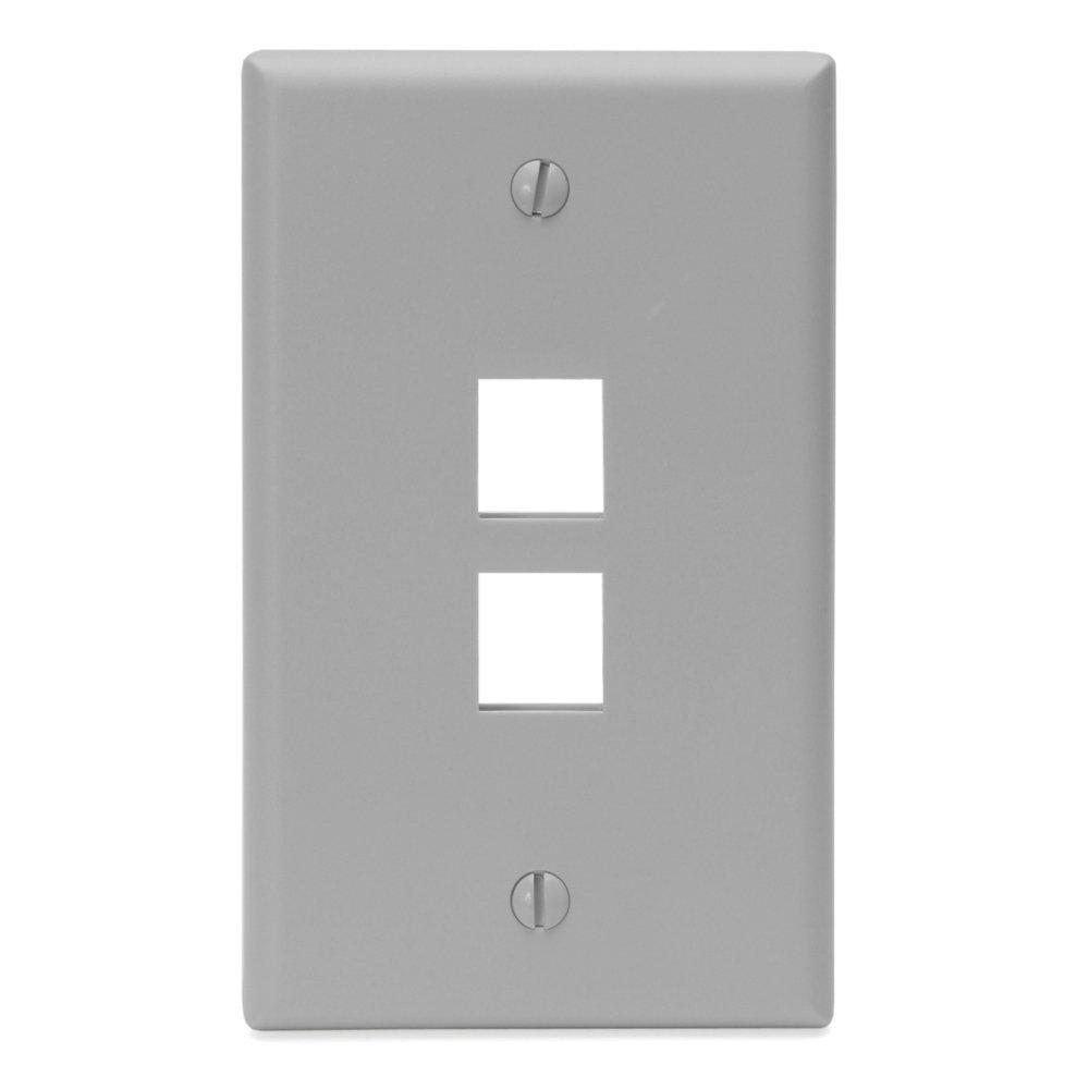 1-Gang QuickPort Standard Size 2-Port Wallplate, Gray