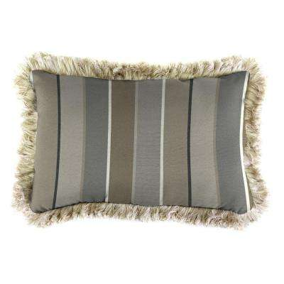 Sunbrella 19 in. x 12 in. Milano Charcoal Lumbar Outdoor Throw Pillow with Canvas Fringe