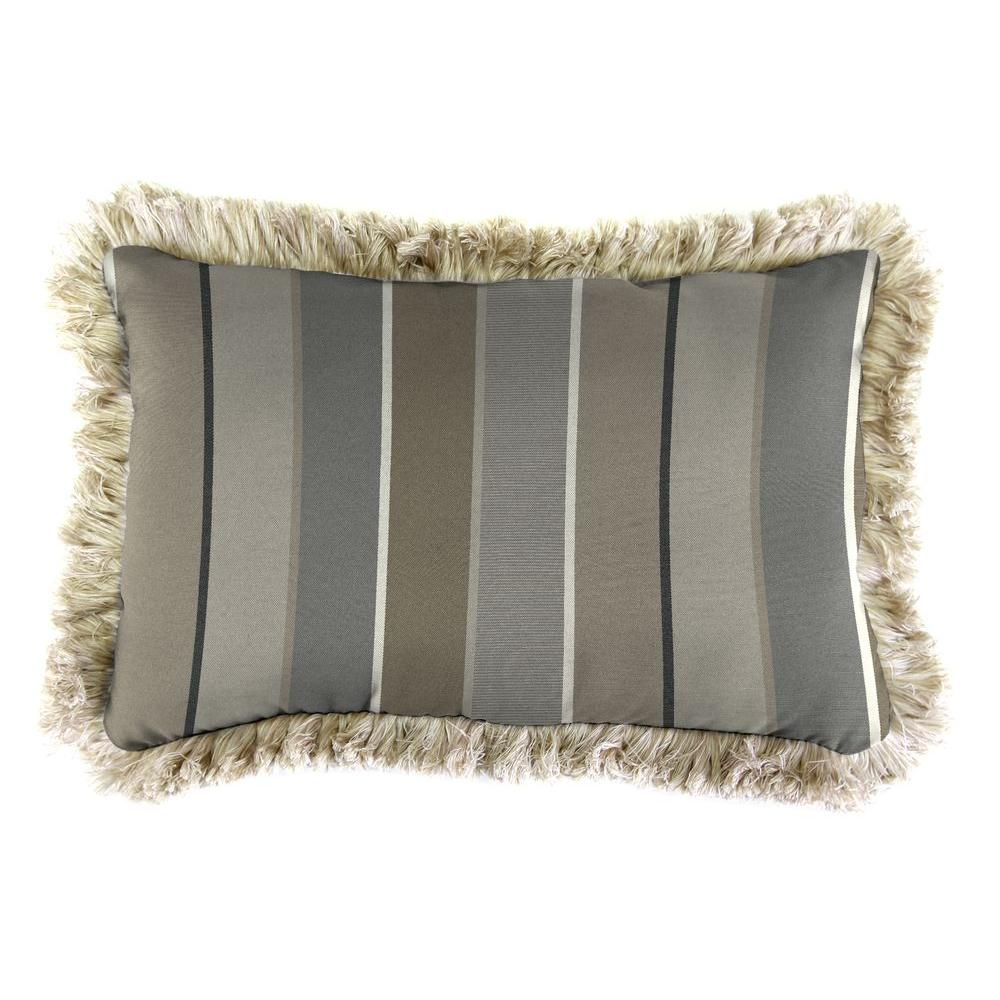 Sunbrella 19 in. x 12 in. Milano Charcoal Outdoor Throw Pillow