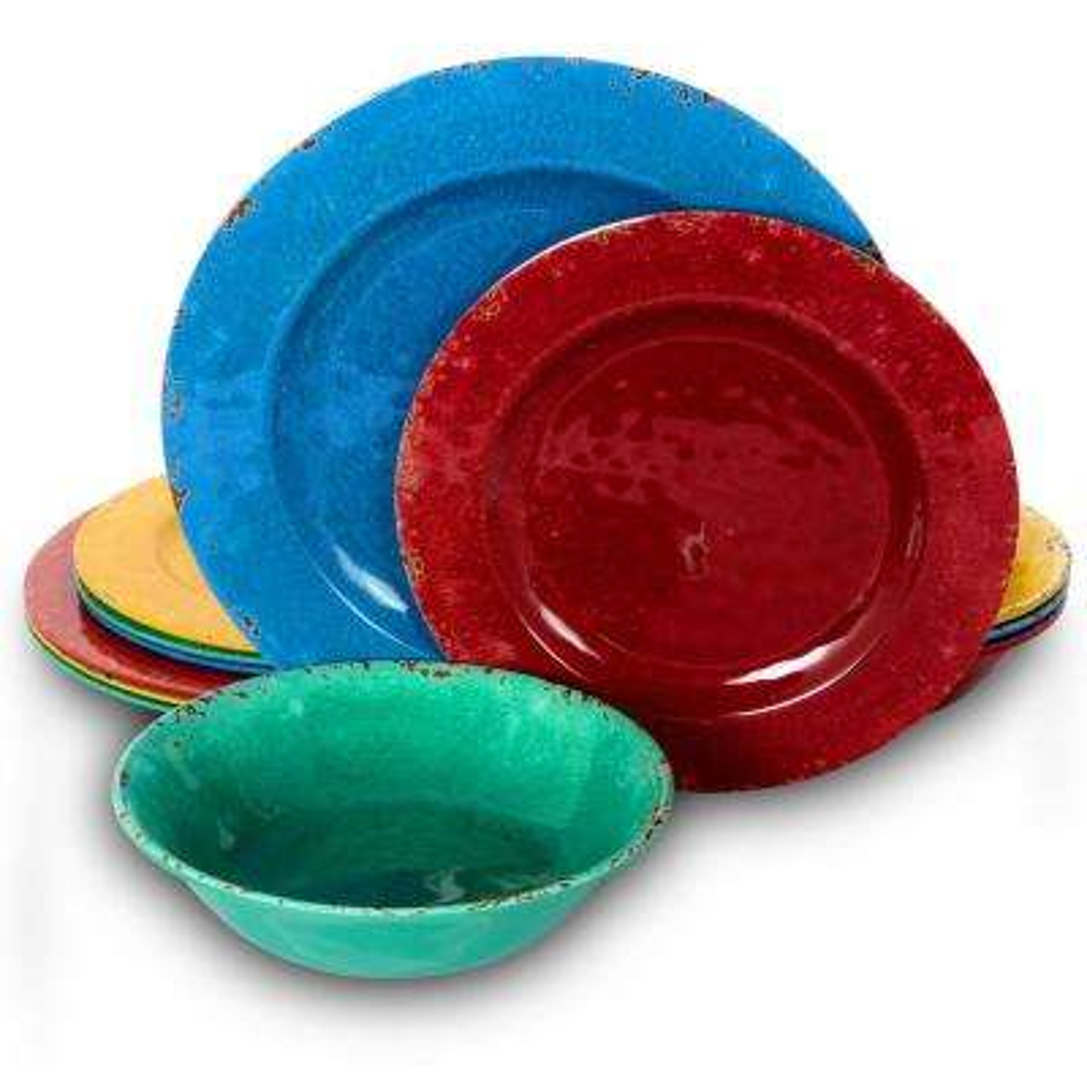 Mauna 12-Piece Assorted Colors Break Resistant Dinnerware Set