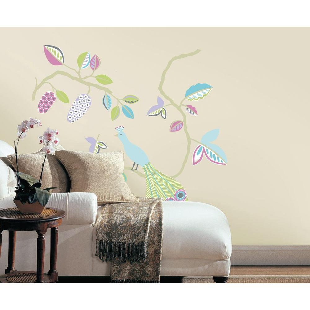 Snap Multi-Colored Urban Peacock Wall Decal