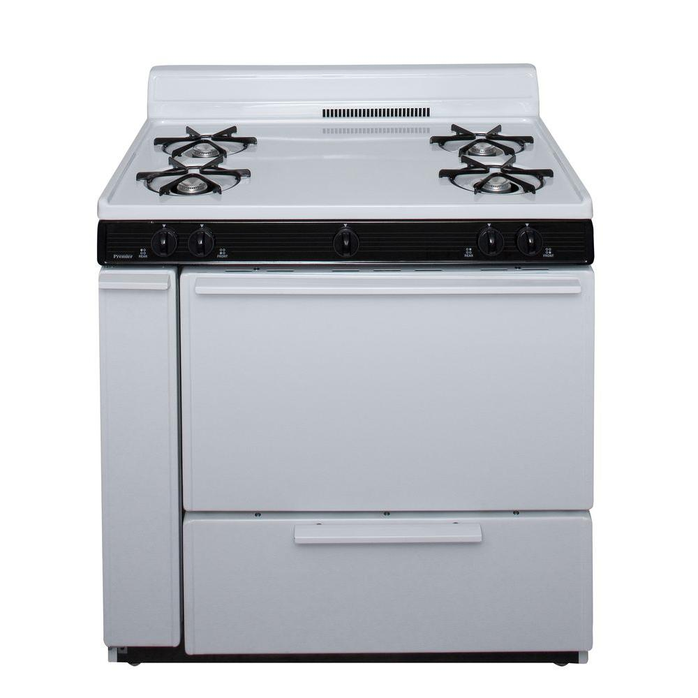 Premier 36 in. 3.91 cu. ft. Battery Spark Ignition Gas Range in White