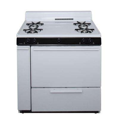 36 in. 3.91 cu. ft. Battery Spark Ignition Gas Range in White